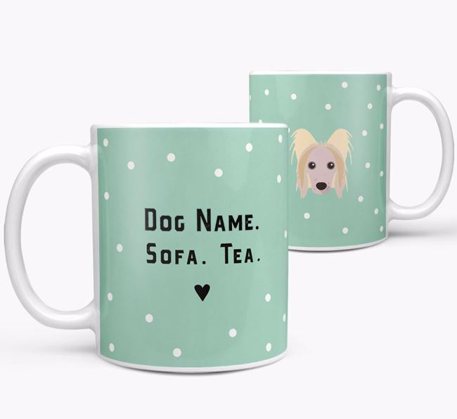Personalised 'Sofa & Tea' Mug for your Hairless Chinese Crested