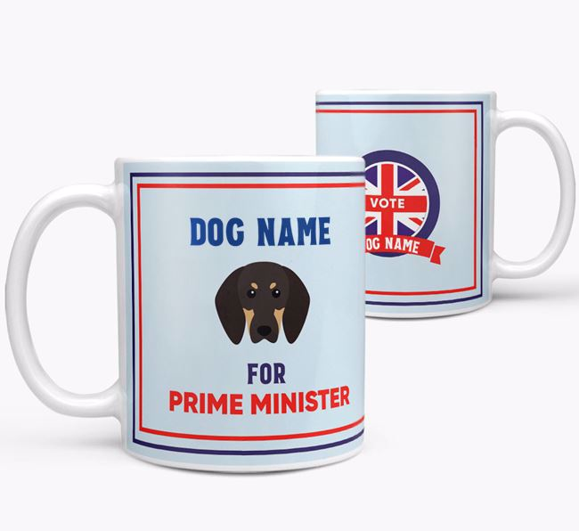 Personalised 'Prime Minister' Mug for your Black and Tan Coonhound