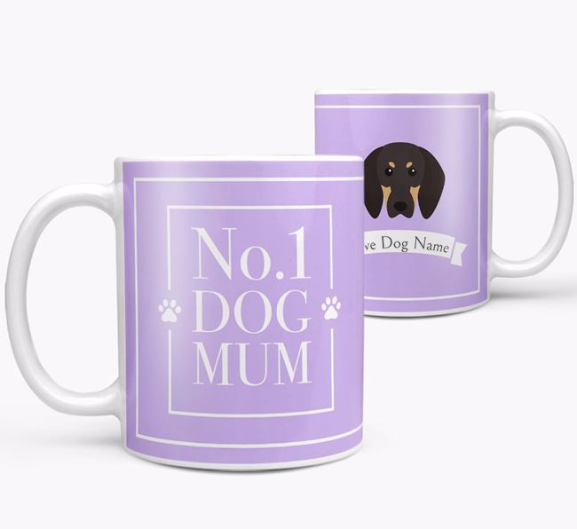 Personalised 'No.1 Mum' Mug from your Black and Tan Coonhound