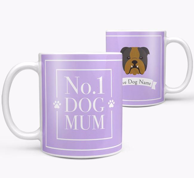 Personalised 'No.1 Mum' Mug from your English Bulldog