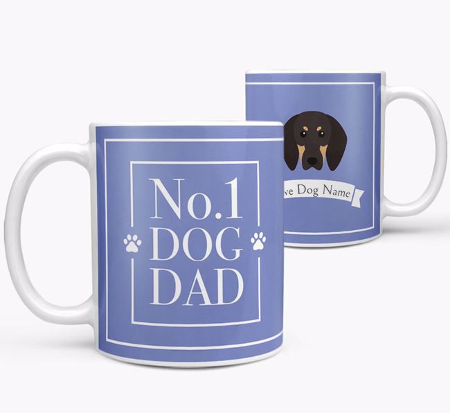Personalised 'No.1 Dad' Mug from your Black and Tan Coonhound