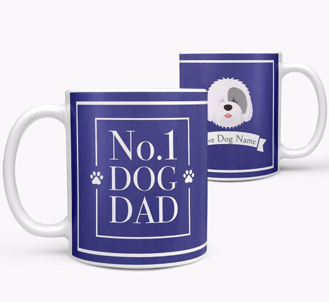 Personalised 'No.1 Dad' Mug from your Old English Sheepdog