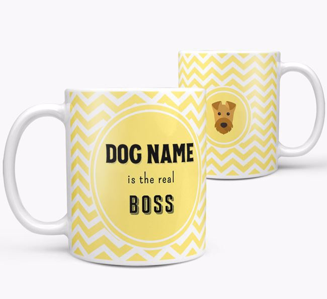 Personalised 'Real Boss' Mug with Airedale Terrier Icon