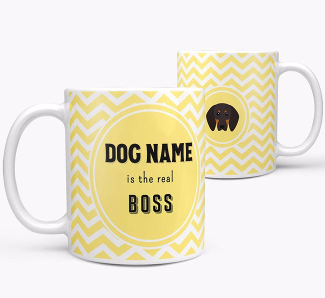 Personalised 'Real Boss' Mug with Black and Tan Coonhound Icon