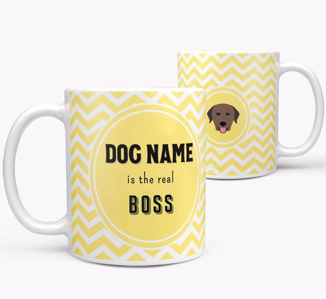 Personalised 'Real Boss' Mug with Curly Coated Retriever Icon