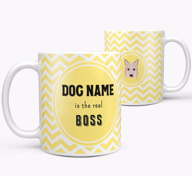 Personalised 'Real Boss' Mug with Hairless Chinese Crested Icon