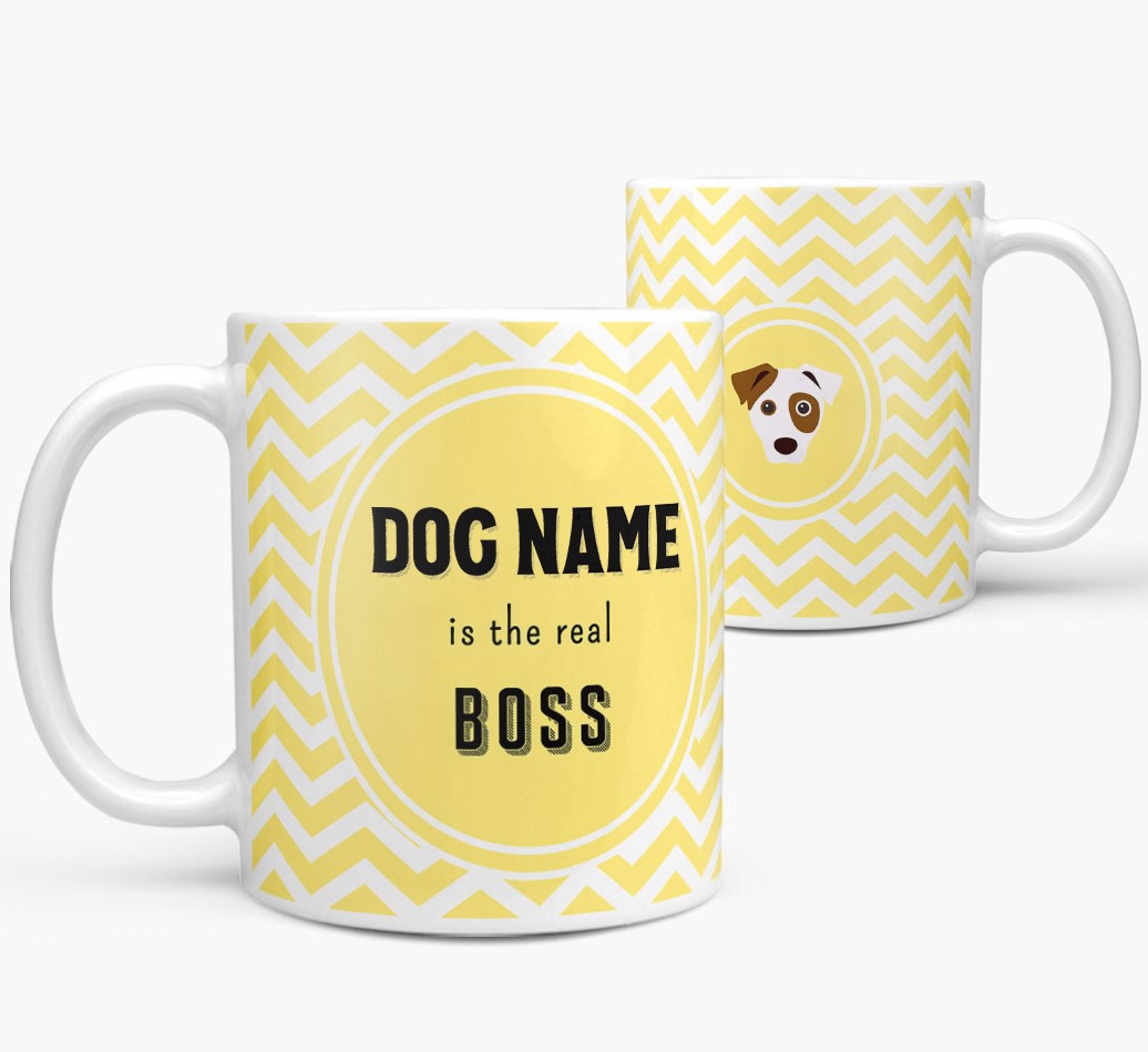 Personalized 'Real Boss' Mug with Dog Icon both views
