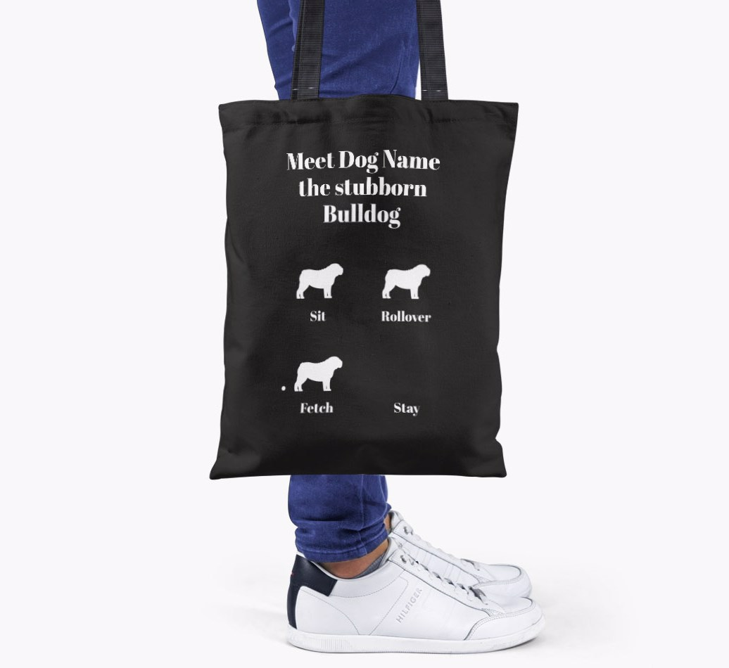 English Bulldog All you need is love {colour} shopper bag held by woman