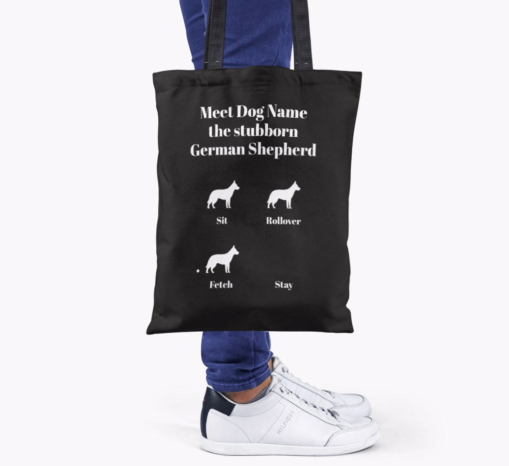 German Shepherd All you need is love {colour} shopper bag held by woman