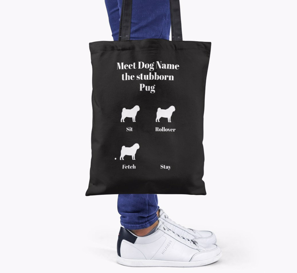 Pug All you need is love {colour} shopper bag held by woman