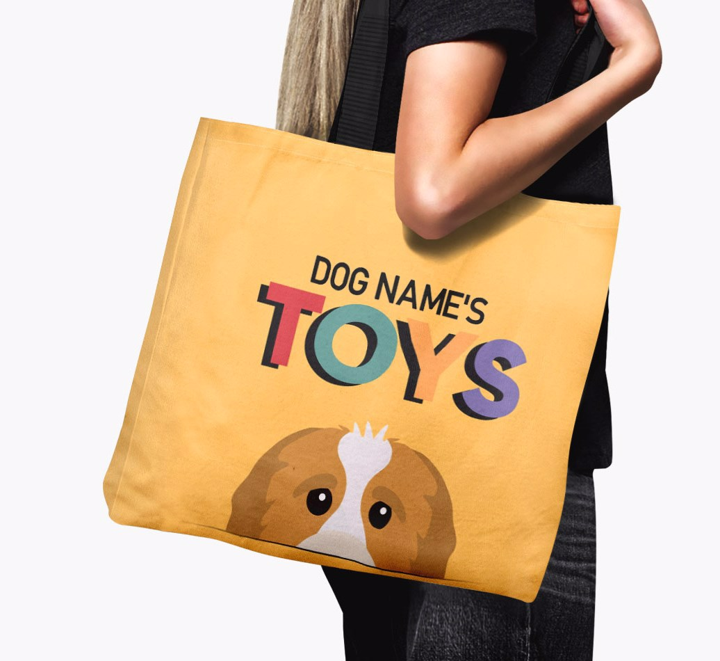 Woman holding {colour} Personalised 'Toys' Canvas Bag for {dogsName}