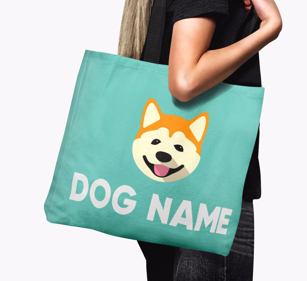 Woman holding {colour} Personalised {dogsName} Icon Canvas Bag