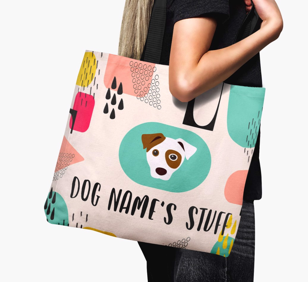 Woman holding {colour} Personalised {dogsName}s 'Stuff' Canvas Bag