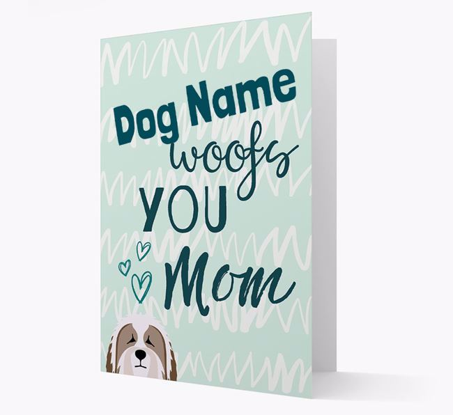 Personalized Bearded Collie 'woofs you Mum' Card