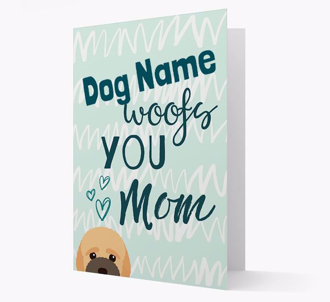 Personalized Bich-poo 'woofs you Mum' Card