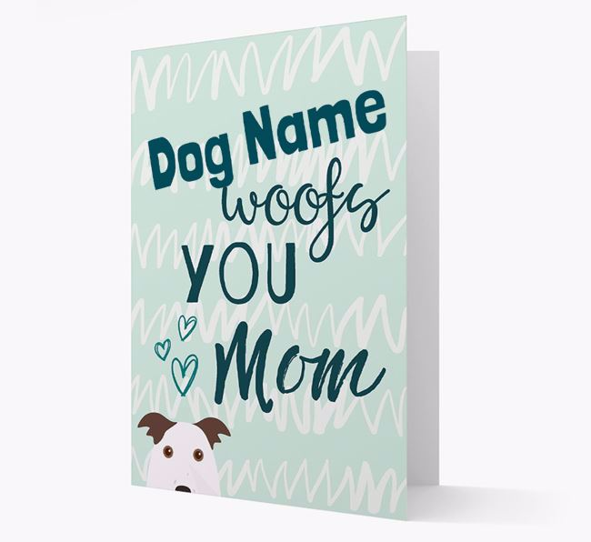 Personalized Border Collie 'woofs you Mum' Card