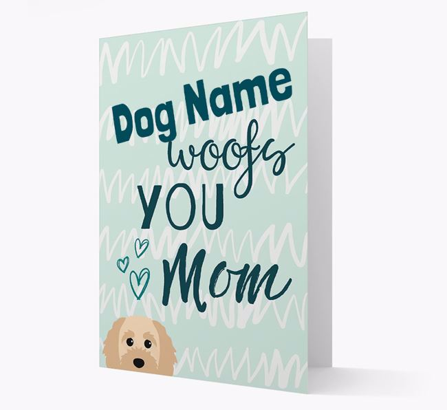 Personalized Cavapoochon 'woofs you Mum' Card