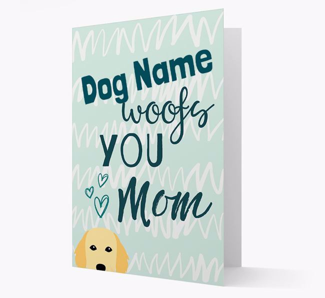 Personalized Flat-Coated Retriever 'woofs you Mum' Card