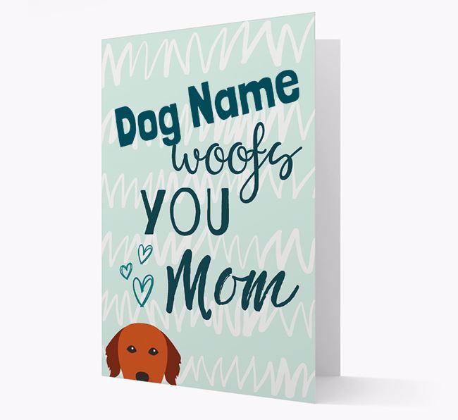 Personalized Golden Retriever 'woofs you Mum' Card