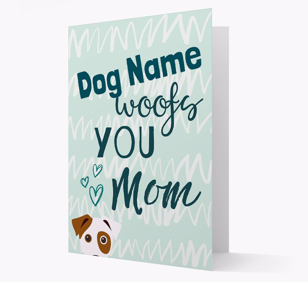 Personalized Card '{dogsName} woofs you, Mom' with Dog Icon
