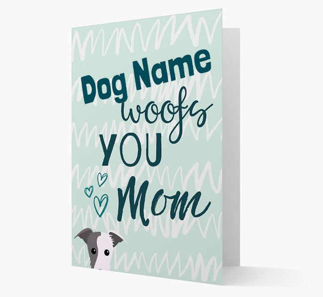 Personalized Lurcher 'woofs you Mum' Card