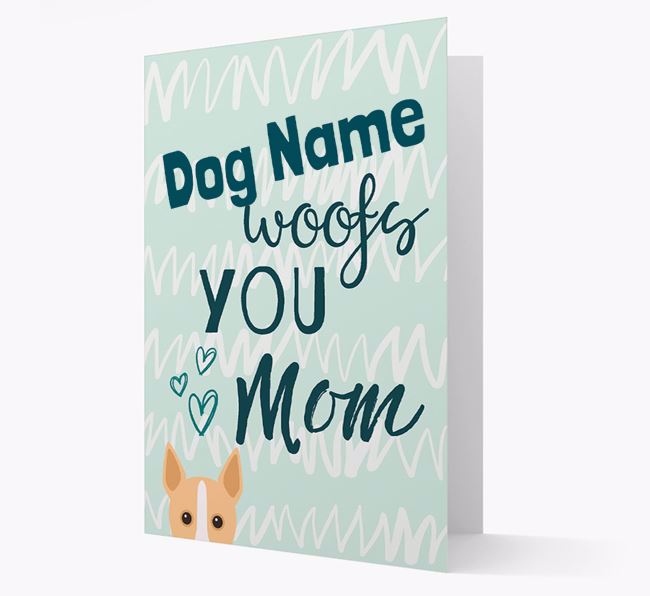 Personalized Portuguese Podengo 'woofs you Mum' Card