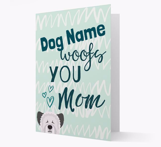 Personalized Skye Terrier 'woofs you Mum' Card