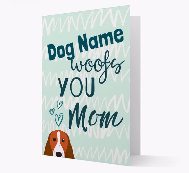 Personalized Springer Spaniel 'woofs you Mum' Card
