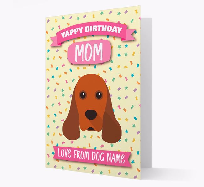 Personalized Card 'Yappy Birthday Mom' with Cocker Spaniel Icon