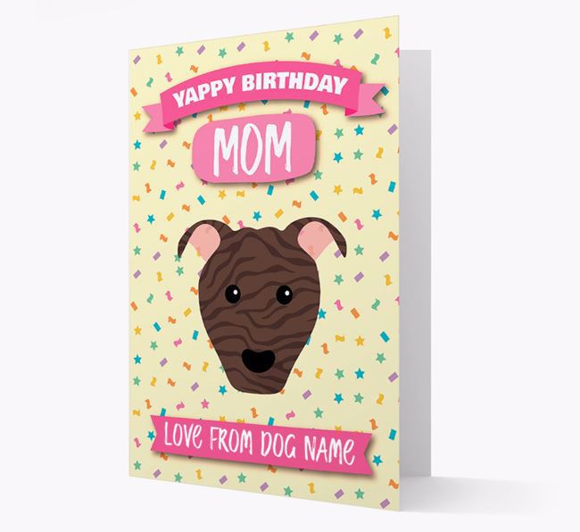 Personalized Card 'Yappy Birthday Mom' with Pit Bull Terrier Icon