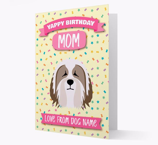 Personalized Card 'Yappy Birthday Mom' with Bearded Collie Icon