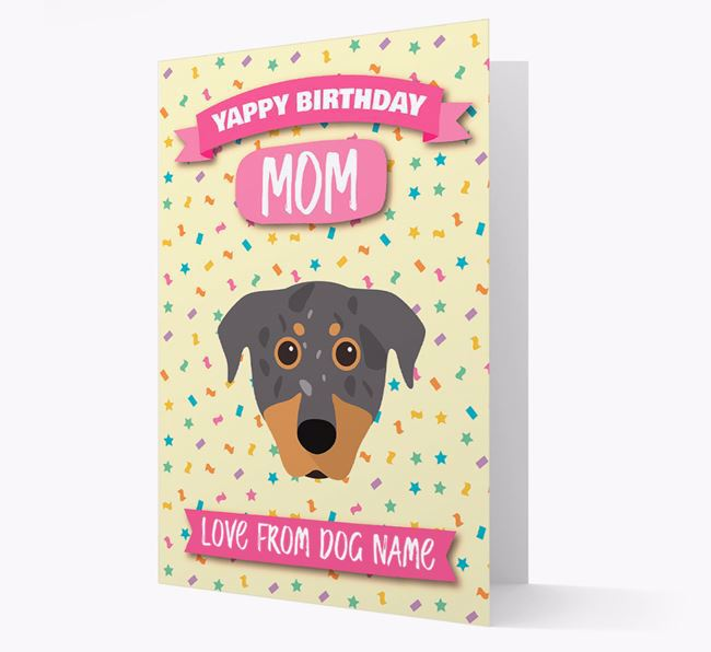 Personalized Card 'Yappy Birthday Mom' with Beauceron Icon