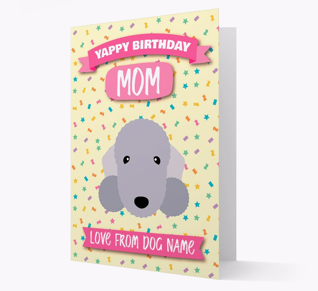 Personalized Card 'Happy Birthday Mom' with Bedlington Terrier Icon