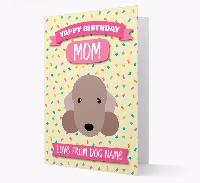 Personalized Card 'Yappy Birthday Mom' with Bedlington Icon