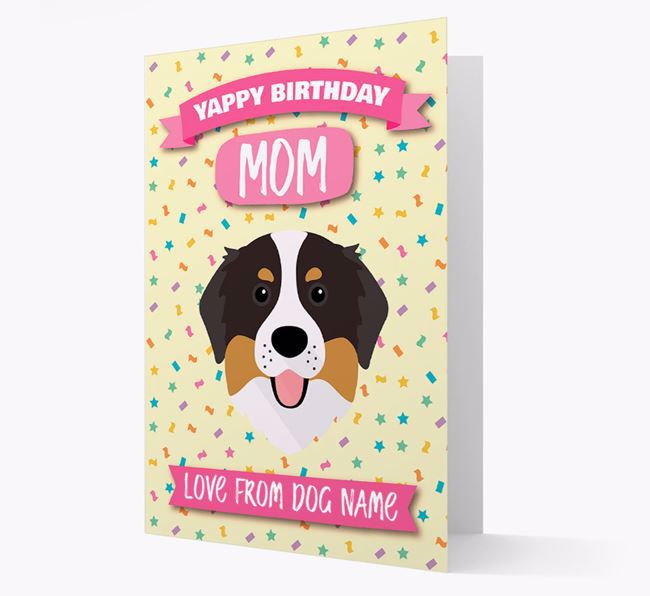 Personalized Card 'Yappy Birthday Mom' with Bernese Icon
