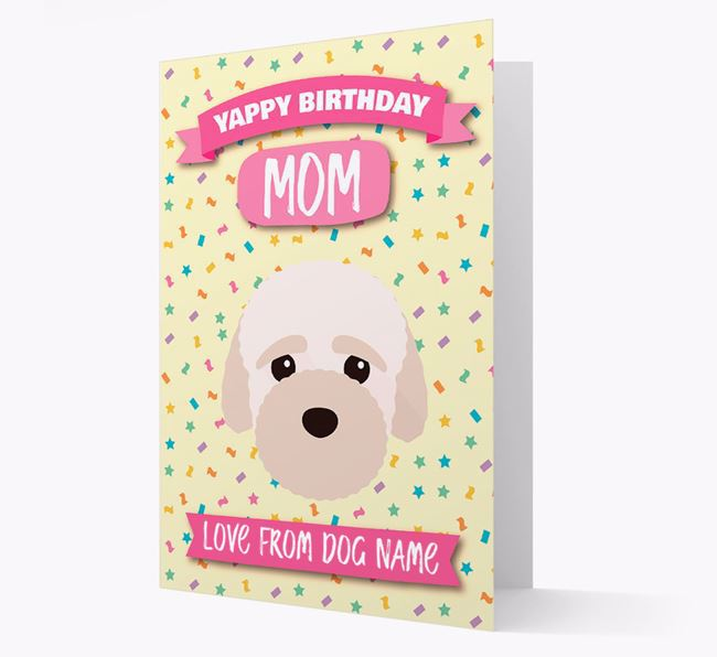 Personalized Card 'Yappy Birthday Mom' with Bich-poo Icon