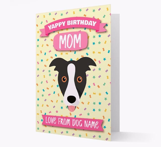 Personalized Card 'Yappy Birthday Mom' with Border Collie Icon