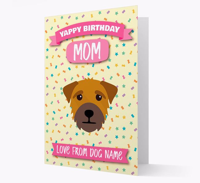 Personalized Card 'Yappy Birthday Mom' with Border Terrier Icon
