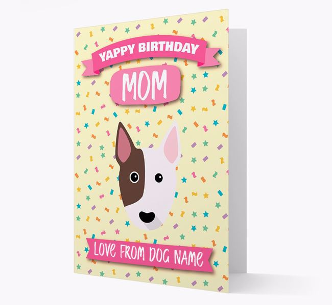 Personalized Card 'Yappy Birthday Mom' with Bull Terrier Icon