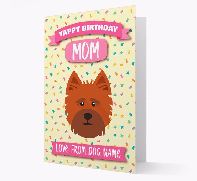 Personalized Card 'Yappy Birthday Mom' with Cairn Terrier Icon