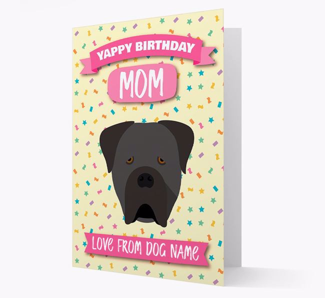 Personalized Card 'Yappy Birthday Mom' with Cane Corso Icon