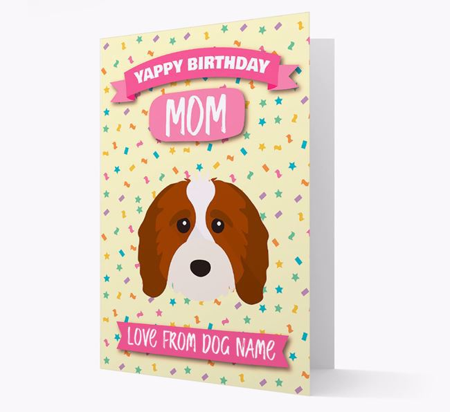 Personalized Card 'Yappy Birthday Mom' with Cavapoo Icon