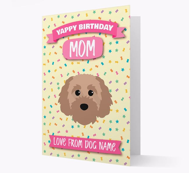Personalized Card 'Yappy Birthday Mom' with Cavapoochon Icon