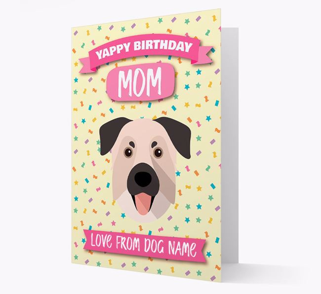 Personalized Card 'Yappy Birthday Mom' with Chinook Icon