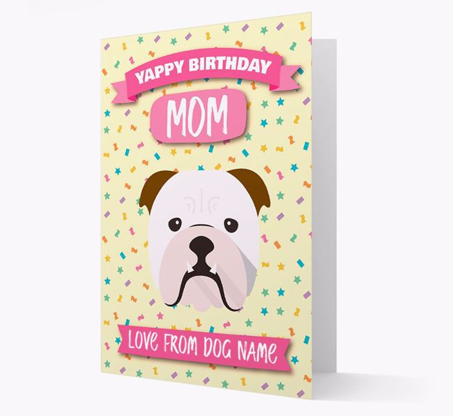 Personalized Card 'Yappy Birthday Mom' with Bulldog Icon