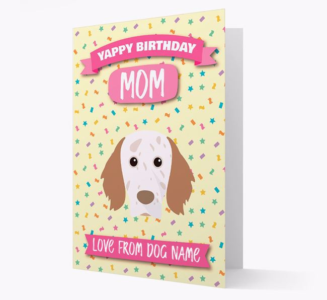 Personalized Card 'Yappy Birthday Mom' with English Setter Icon