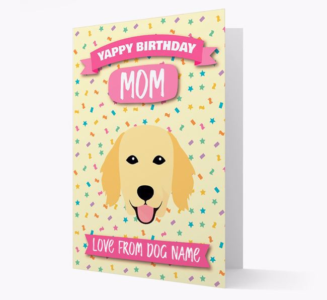 Personalized Card 'Yappy Birthday Mom' with Flatcoat Icon