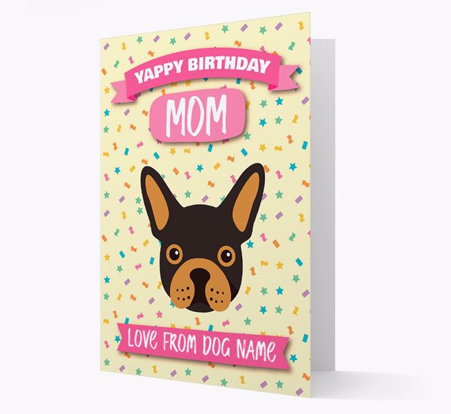 Personalized Card 'Yappy Birthday Mom' with Frenchie Icon