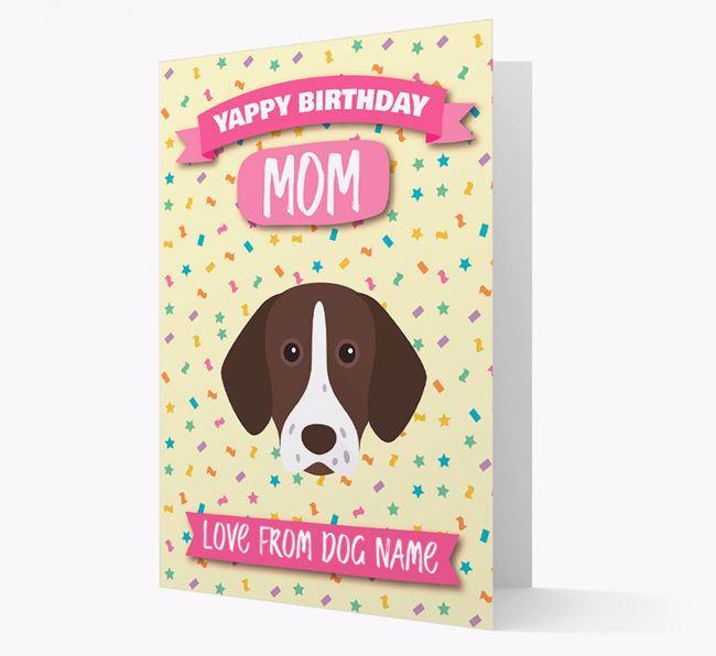 Personalized Card 'Yappy Birthday Mom' with Shorthaired Pointer Icon