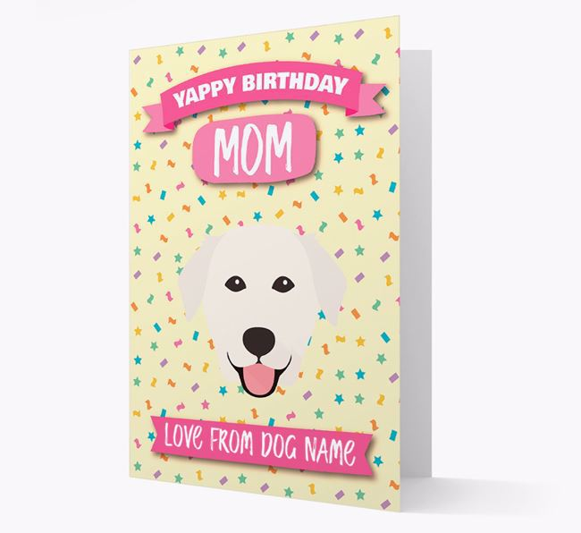 Personalized Card 'Yappy Birthday Mom' with Golden Lab Icon